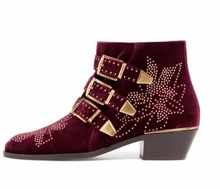 Autumn Winter Ankle Boots for Women Gold Buklce Rivets Decoration Chunkly Heels Studded Boots Round Toe Side Zipper Ladies Shoes 2017 studded low heel ankle boots women back zipper rivets decoration european design shoes pointed toe fashion female boots