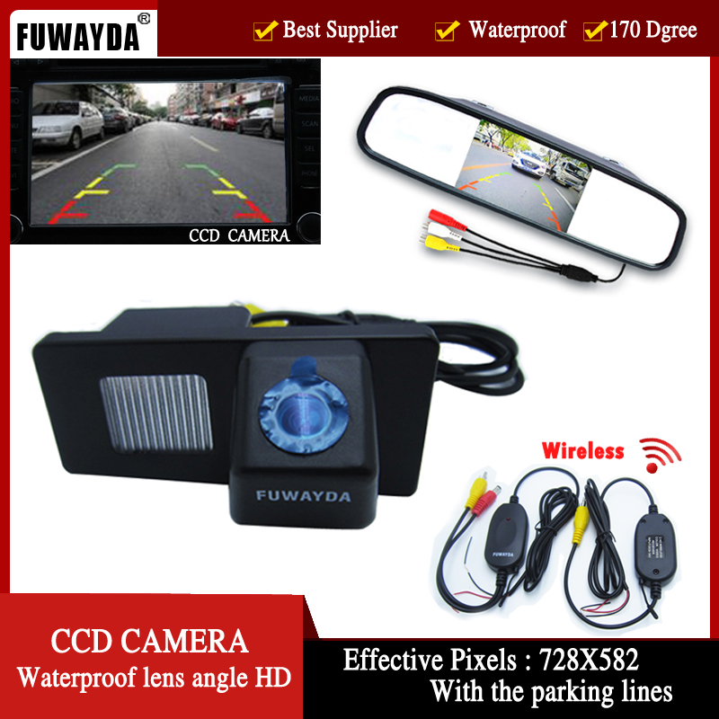 FUWAYDA Wireless Color Car Rear View Camera for Ssangyong Rexton Ssang yong Kyron with 4 3