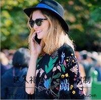 Sonbahar ve kış moda m fedoras kadın şapka kış moda spiral yara mavi şerit siyah büyük ağız yün fedoras