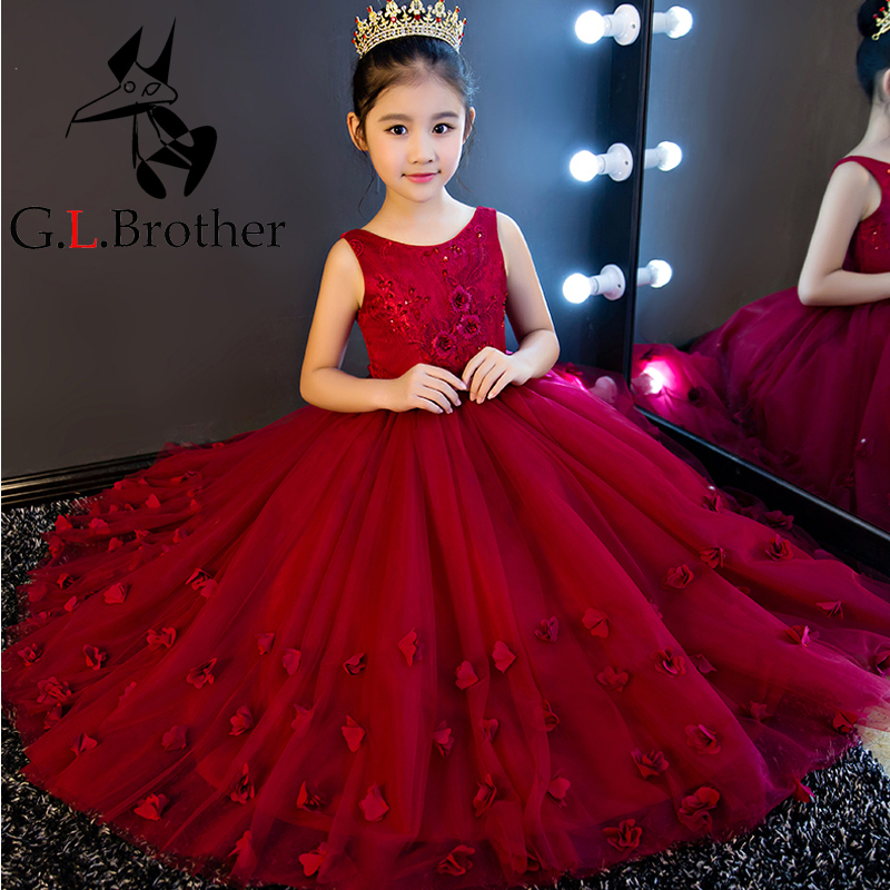 High Quality Wine Girls Piano Performance Dress Newest Design Girl Clothes Party Prom Dress Sleeveless Kids Dresses For Girl P65 girl dress 2017 summer girls style fashion sleeveless printed dresses teenagers party clothes party dresses for girl 12 20 years