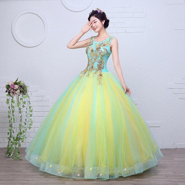 Gold Embroidery Organza Colored wedding dress 2017 New Korean Style Yellow blue  Princess Gowns vestido de noiva free shipping 8b38ba89953b