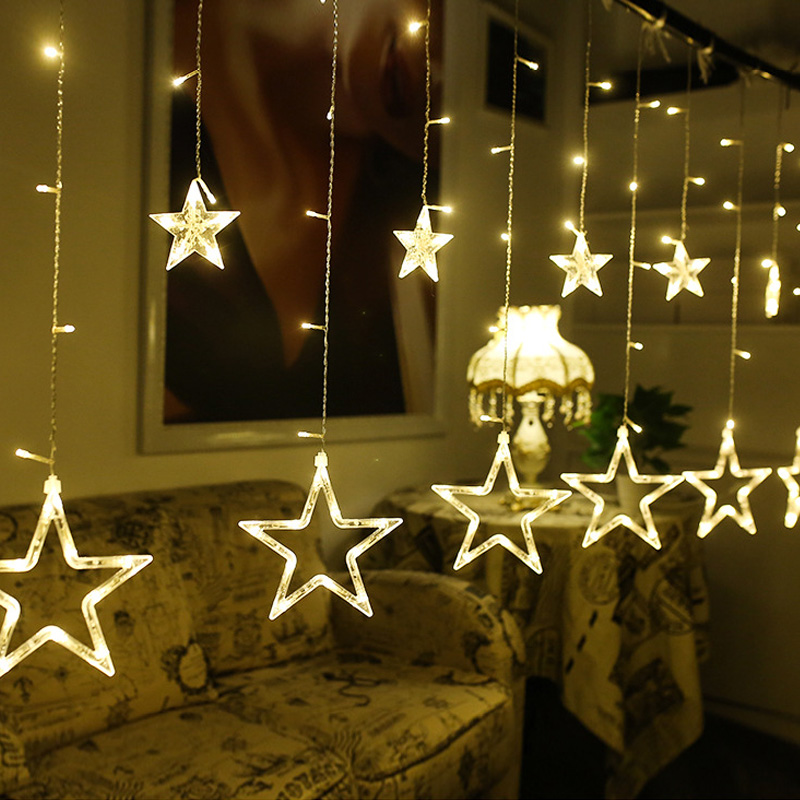 AC 220V Holiday Lighting LED Fairy Star Curtain String Luminarias Garland Decoration Christmas Wedding Light 4M