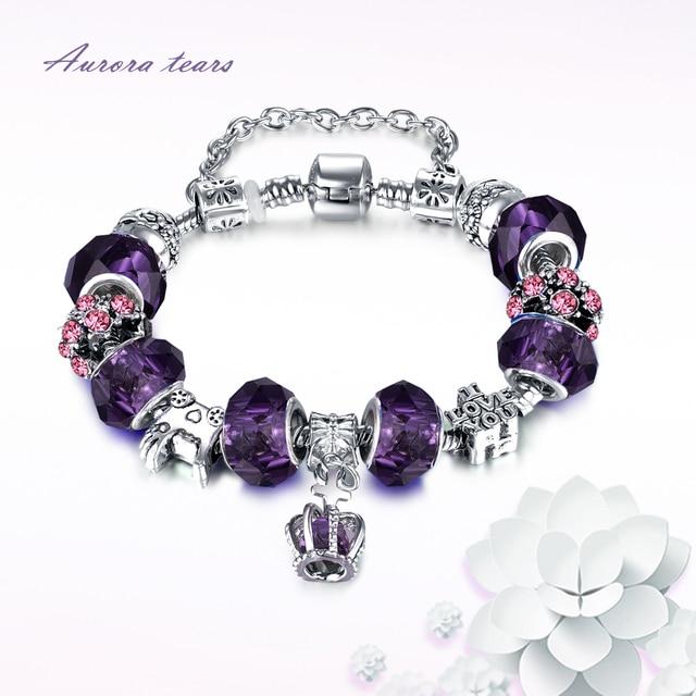 Gelang untuk Partai Wanita Hadiah Charm Gelang Perempuan Kristal Bead Ston  untuk Gadis Mode DIY Pulseras 226f7a2761