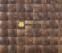 3D Square Natural Coconut Art Mosaic Tiles Convex Coconut Panel Beautiful Gougers Art Mosaic Tiles Wall