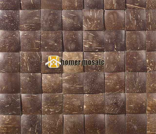3D square natural coconut art mosaic tiles convex coconut panel ...