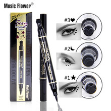Music Flower Sexy Tattoo Liquid Eyeliner Pencil Black Eyelid Waterproof Long-lasting Eyes Makeup Matte Double Eye Liner