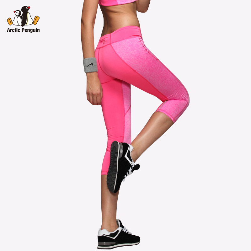 [AP] Yoga Leggings Women High Elasticity Sport Cropped Pants Quick Dry Gym Running Tights With Pocket Fitness Yoga Female Capris
