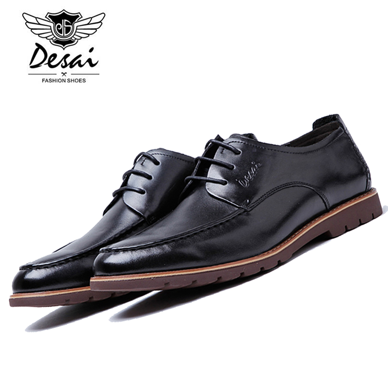 DESAI Men's Black/Red Genuine Cow Leather Formal Shoe Man Dress Shoes Round Toe Vintage Italian Mens Casual Shoes DS0006-11 brand new men genuine leather flats man casual shoes loafers cow suede leather weddng party black handmade formal shoe d966 3