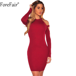 ForeFair Autumn Sexy Long Sleeve Bodycon Dress Women Winter Wine Red Black Off the Shoulder Halterneck Elastic Club Party Dress
