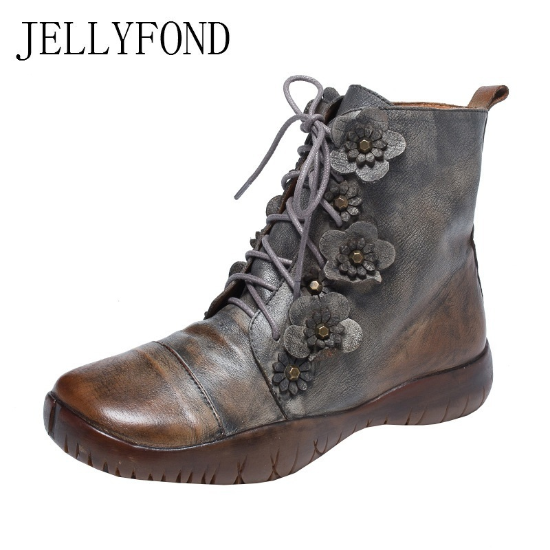 JELLYFOND Handmade Flower Flat Boots Genuine Leather Ankle Boots Women 2018 Vintage Autumn Lace Up Punk Combat Boot Martin Shoes