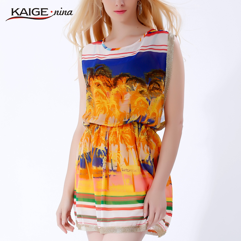 KaigeNina New Fashion Hot Sale Women Casual Floral With Belt Vest Printed Beach Clothing O-Neck Chiffon Dress288