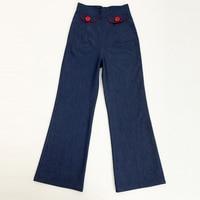 Женские джинсы Pin Up Ретро Винтаж дизайнерская модная коллекция 2016 года женская одежда больших размеров брюки колокол Pinup XXXL 4XL большие джинс...