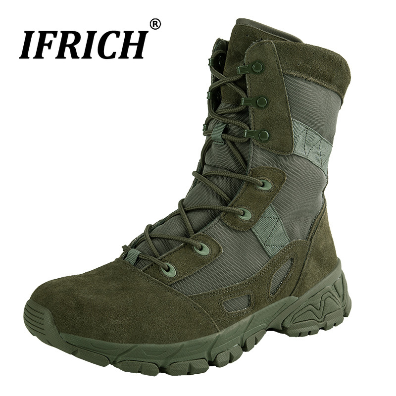 Buy Original Men Military Footwear Outdoor Military Tactical Boot for Men Big Size Natural Leather Men Boots Army Green Combat Boots