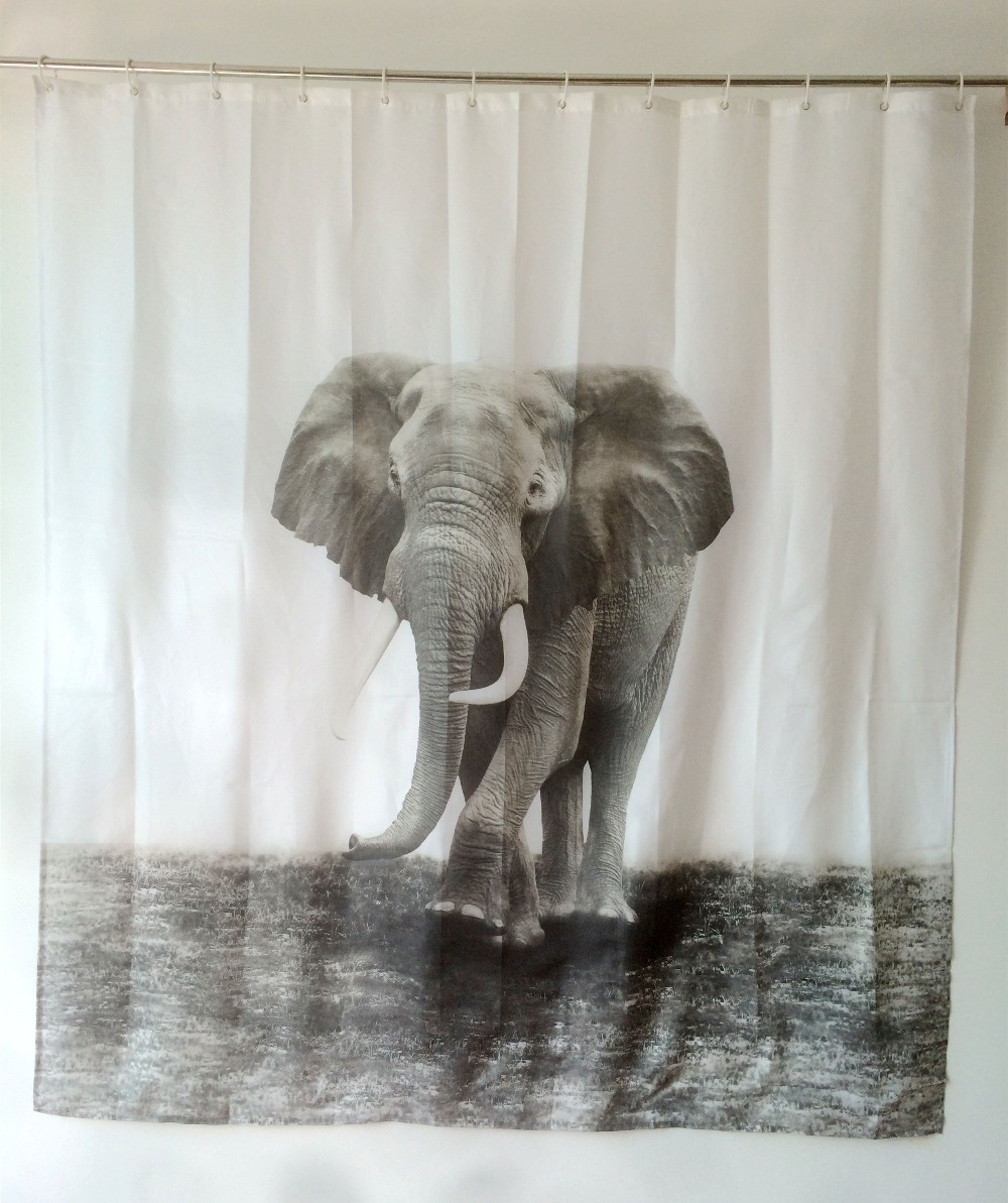 Shower curtains elephant design bath products fabric - Rideau de douche polyester ...