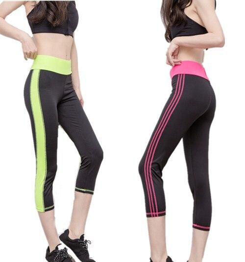 Mujeres rayas Media Pantorrilla leggings leggins deporte Gimnasio Workout  gym Bodybuilding niñas Lápiz Pantalones Cortos de Las Polainas Jeggings  Capri en ... cfed1fd91492