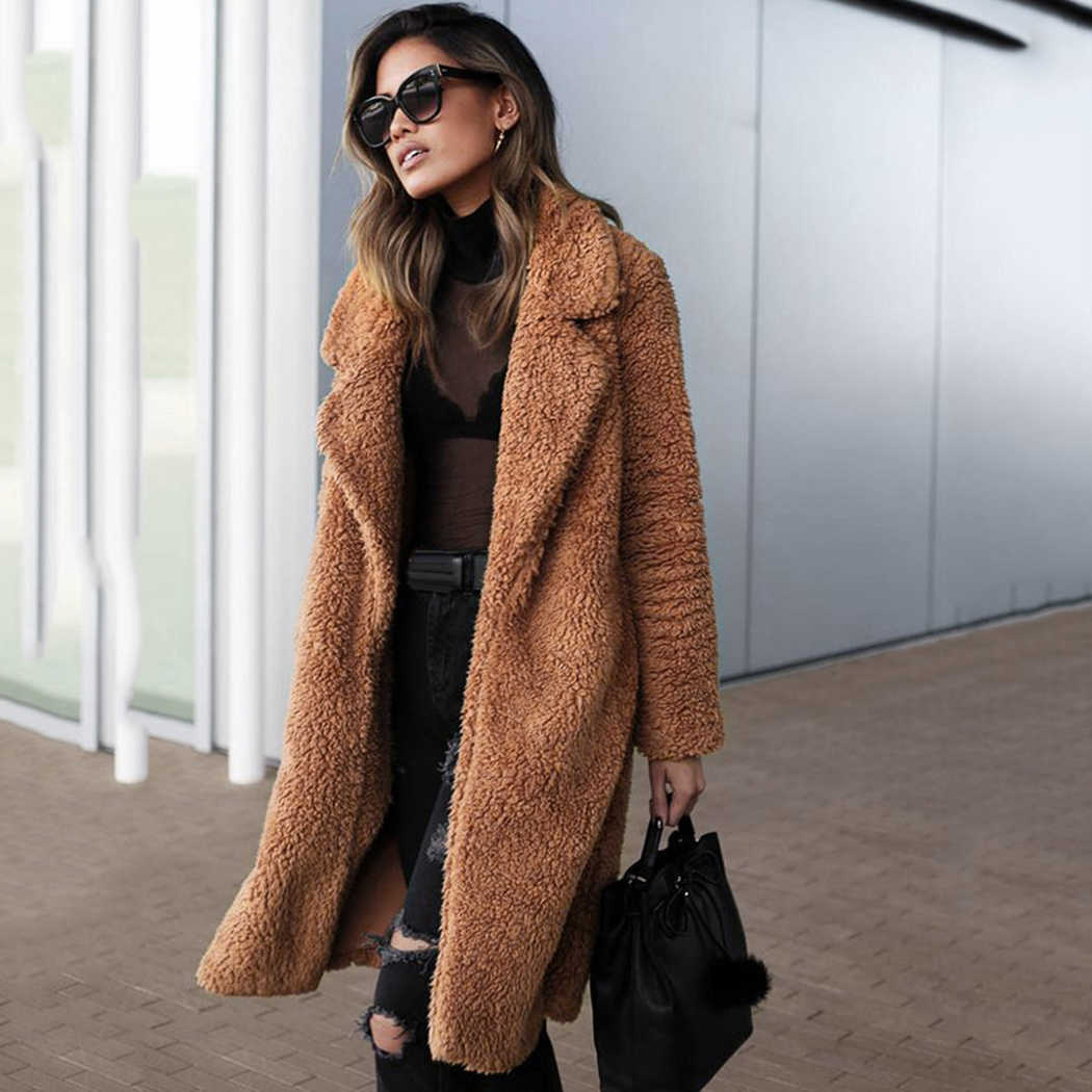 08e929f8b8c Plus Size Women Faux Fur Coat Fluffy 2018 Winter Faux Teddy Coats Long Fur  Jacket Overcoat