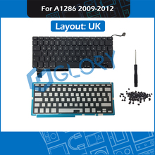 New A1286 Keyboard UK Layout for Macbook Pro 15″ A1286 Keyboard Replacement with Backlight Screws 2009-2012 Year