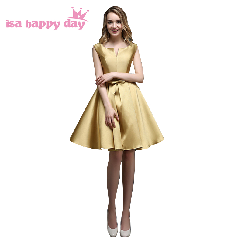 robe mariee teenage bridesmade pink short satin bridal dress elegant ...