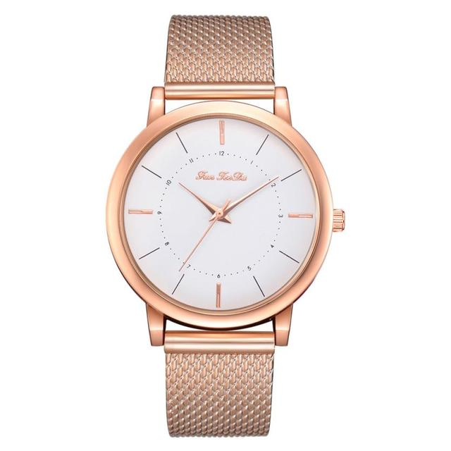 Simple Fashion Ladies Watch Mesh With Quartz Watch Rose Gold Girls Gold ladies H