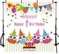 Custom Cartoon Flags Balloon striped owl cake 1ST Birthday backgrounds Vinyl cloth Computer print newborn baby backdrops
