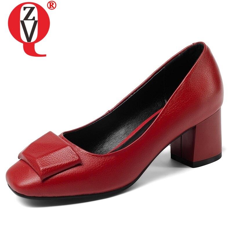 ZVQ zapatos de mujer nueva moda de cuero genuino tacón alto cuadrado bajo deslizamiento en punta cuadrada transpirable cómodo bombas exteriores-in Zapatos de tacón de mujer from zapatos    1