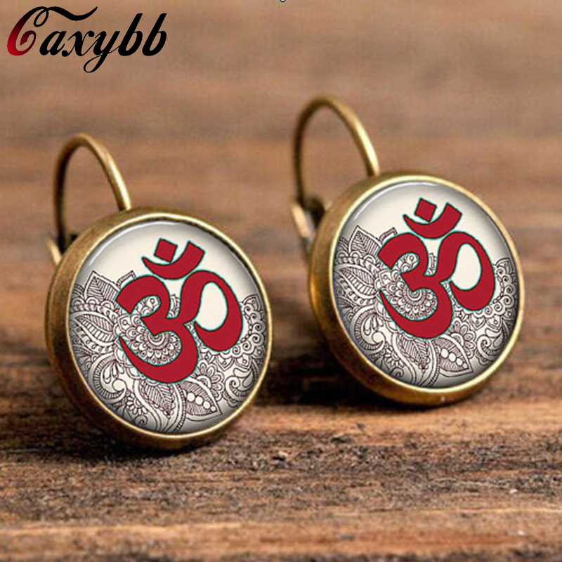 mandala on earring yoga jewelry earring om symbol buddhism,zen, charm art picture glass dome cabochon earring for women c-e154
