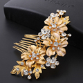 Золотой посеребренный роскошью красоты кристалл свадебные аксессуары для волос цветок головные уборы ювелирные изделия листьев волос расчески для невесты