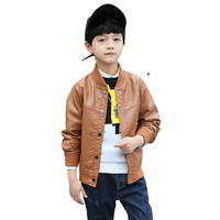 Spring Autum New Boys Casual Solid Jacket Long Sleeve High Quality Leather Jacket Baby Boy Spring