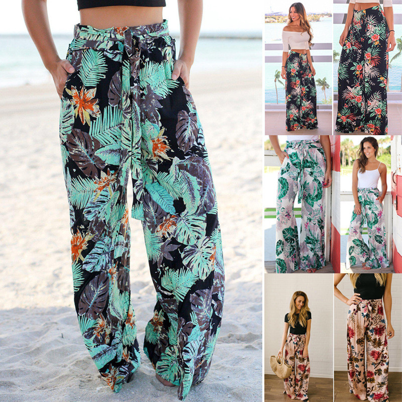 Boho Beach Joggers Christmas Women's Pants Summer Trousers 2020 Casual Long Palazzo Pant Wide Leg Pants For Female Sweatpants