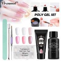 Vrenmol Poly Gel Sets UV Nail Builder Fast Nail Extention Gel Jelly Acrylic Crystal Slip Solution Nail Brush Kits Tools
