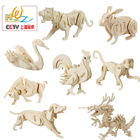 Free shipping Rabbit Swan crocodile etc Kids 3D Wooden puzzle, Assembly cartoon animal model 2pcs wood Educational puzzle toy