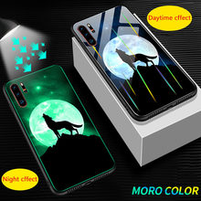 Aurora Luminous Glass Phone Case For huawei P30 Mate 20 P20 Pro Back Cover For Honor 20 S 9X Pro 20i 8X 8C V10 8 Lite Phone Case(China)