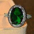 Роскошное мужское и женское большое овальное кольцо, великолепное зеленое и красное кольцо, обручальное мужское кольцо для мужчин и женщин