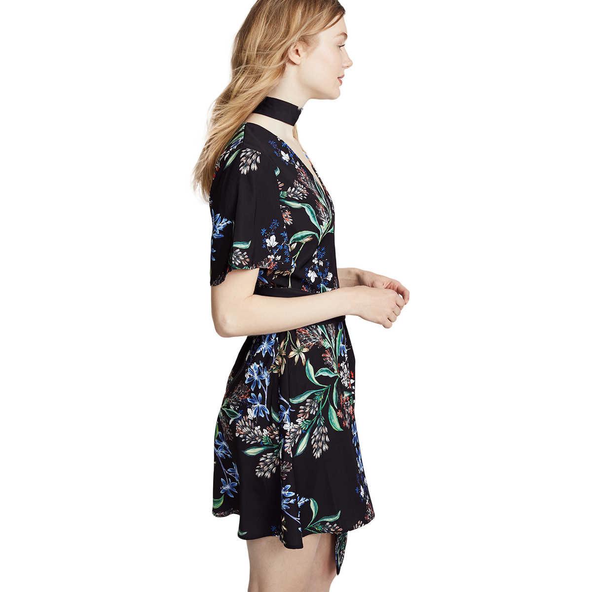 Hdy Haoduoyi Mùa Hè Họa Tiết Đầm Với Choker Rời Cổ V Tay Ngắn Kimono Mini Chữ A Kèm THẮT NƠ EO