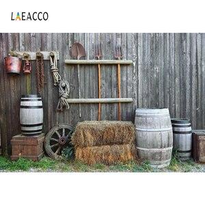 Laeacco фермерские инструменты деревянная стена баррель фотографии фоны Индивидуальные цифровые фотографические фоны для фотостудии