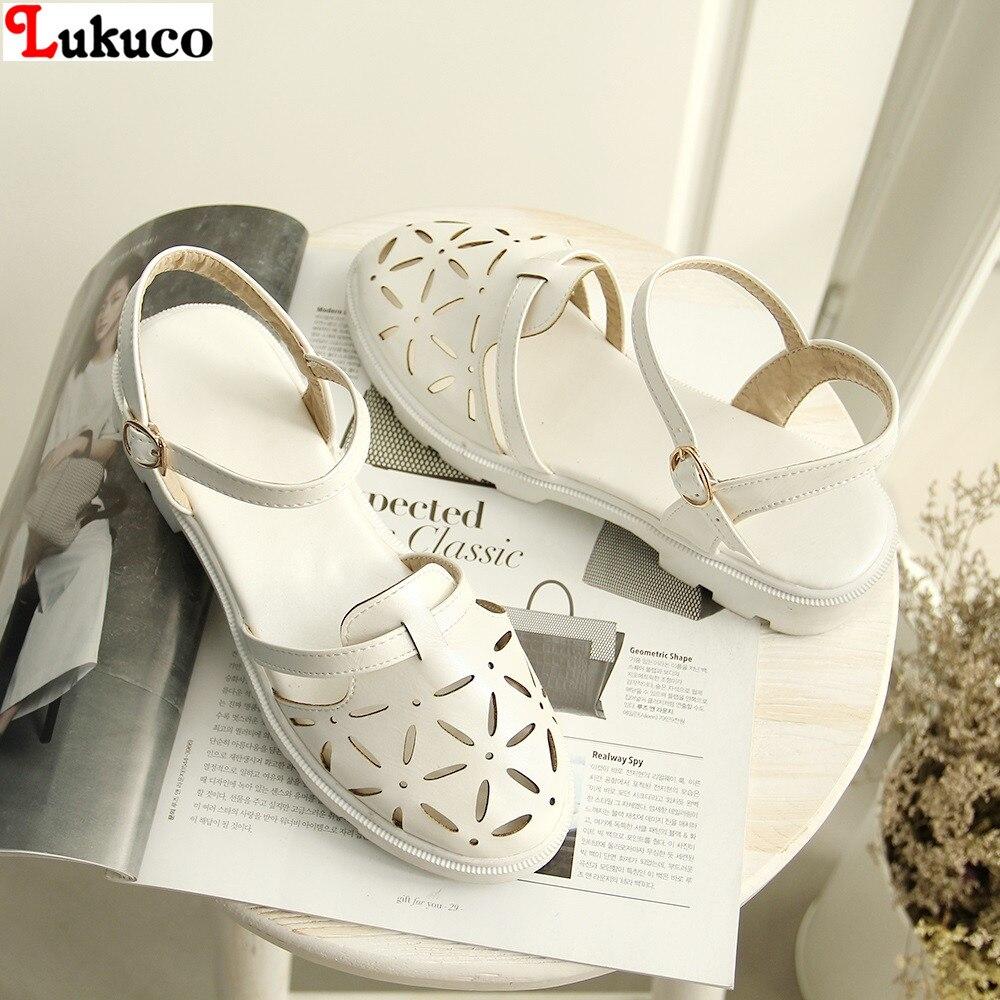 ФОТО Popular high quality PU sweet sandals Size 40 41 42 43 Cut-Outs Buckle Strap design Slingbacks pumps free shipping