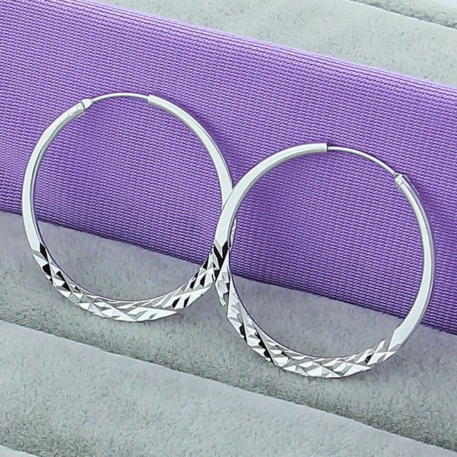 High Quality Hoop Earrings 925 Sterling Silver 5.0cm Circle Earrings Fashion Jewelry Wholesale Factory Direct Sales 1