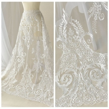 130cm Wide Luxury European Plain Embroidery Tulle Lace Fabric Wedding Dress Handmade Diy Skirt Clothing Decoration Materials