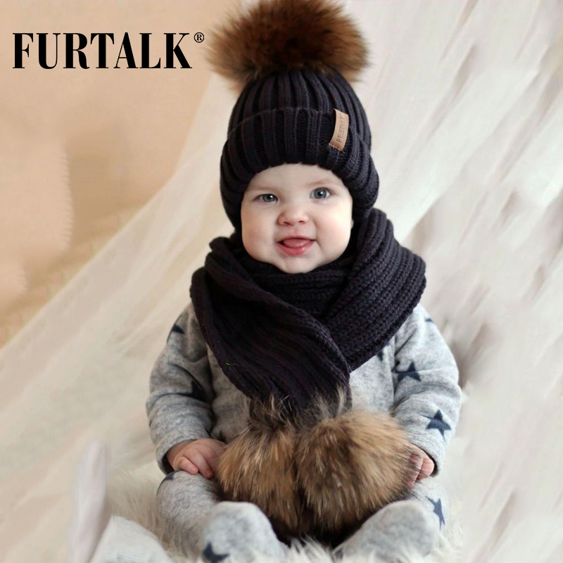FURTALK Kids Ages 1-4 Winter Baby Real Fur Pompom Hat Scarf Set Knit Beanie Hats And Scarves For Child