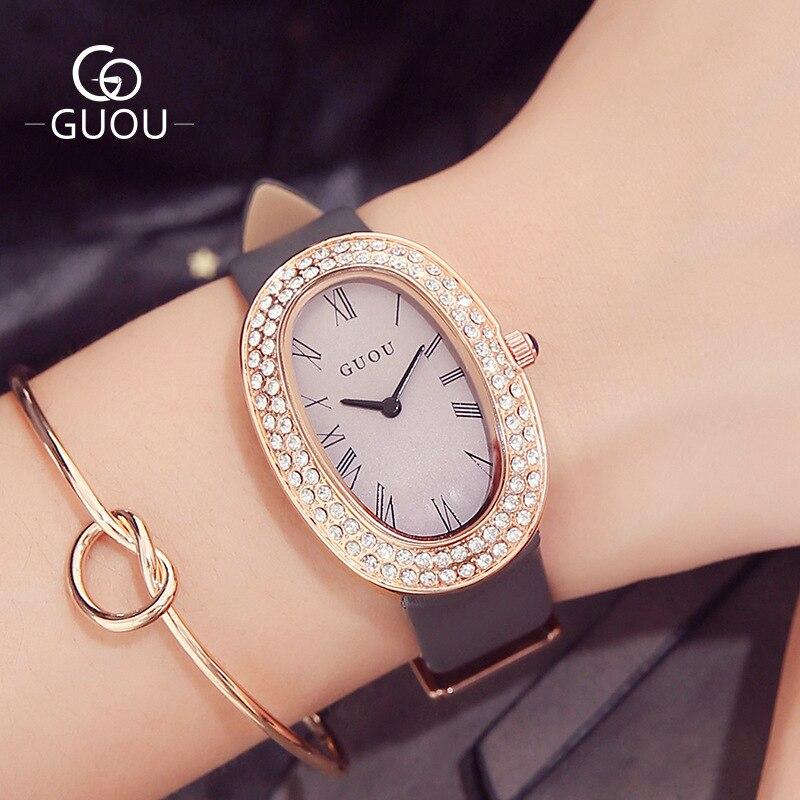 GUOU Stylish Elliptic Dial Crystal Rhinestone Genuine Leather High Quality Japan Movt Quartz Woman Wrist Watch Wristwatches 8067