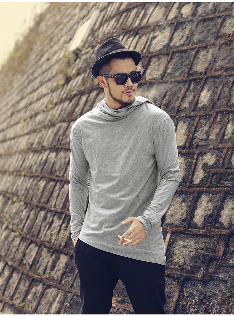 HTB1l.27XELrK1Rjy0Fjq6zYXFXak - Men Autumn New European Style High Collar Long Sleeve Hooded T-shirt with Cap Men Slim Casual Cotton Irregular T-shirt T908