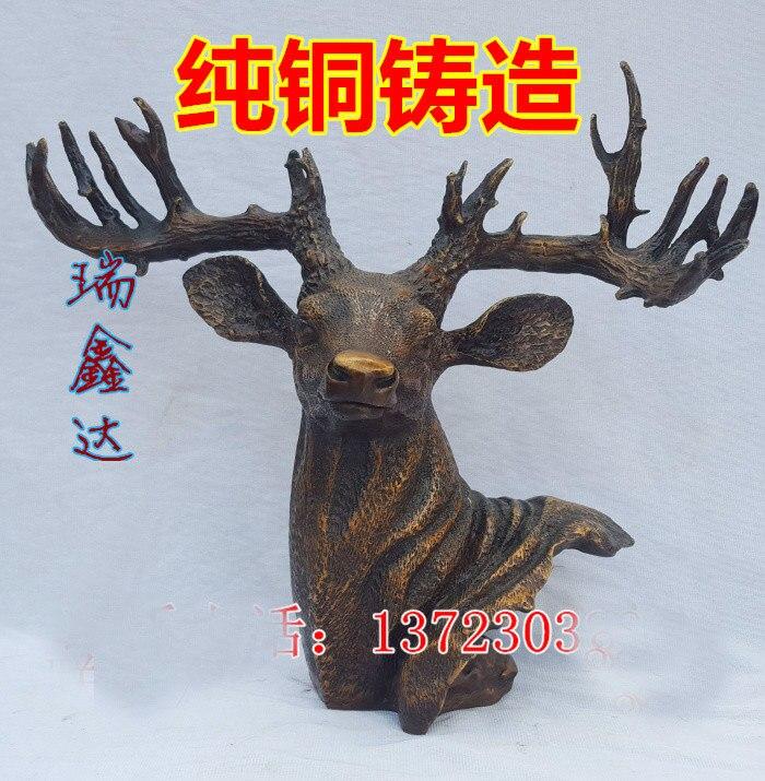 39CM large # Office home FENG SHUI  ART # efficacious Talisman Money Drawing  Fortune elk deer  Bronze statue39CM large # Office home FENG SHUI  ART # efficacious Talisman Money Drawing  Fortune elk deer  Bronze statue
