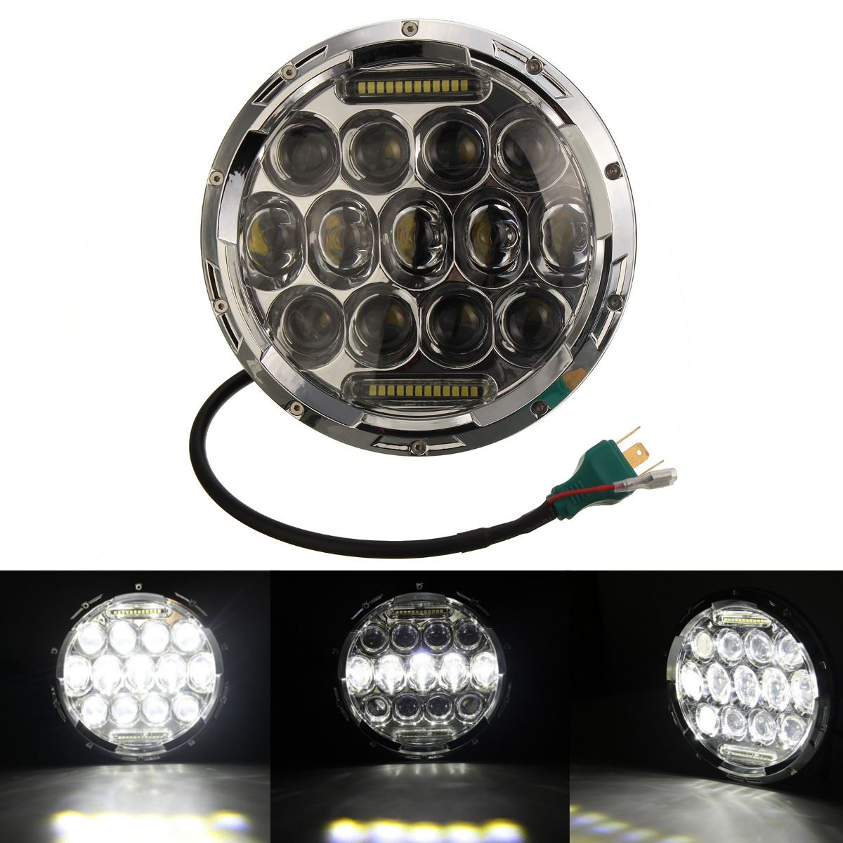 7 Inch Motorcycle Chrome Projector Hi Lo Beam LED Headlight for Harley
