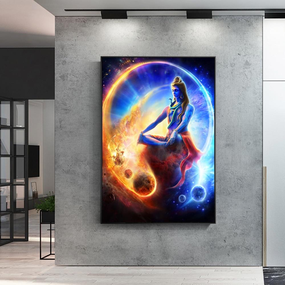 Hindu Poster Art: Lord Shiva Hindu Religion Wall Art Canvas Prints Hindu God