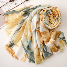 2019 leaf floral Womens Scarves Luxury Brand summer Scarf Designer Ladies Shawls for Women Autumn spring blanket silk scarf