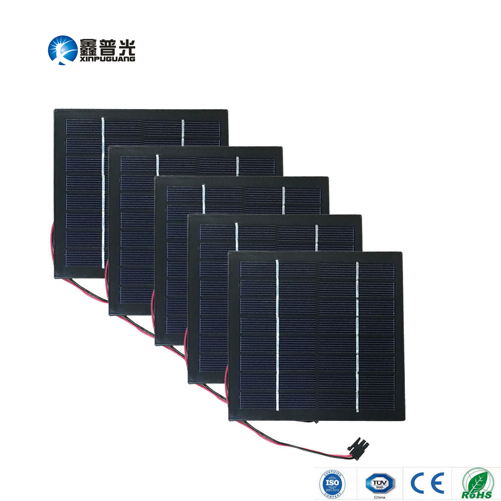 Xinpuguang 5pcs 1.5W 8V 190mA glass solar panel polysilicon junction box for LED light lamp toy battery power charger