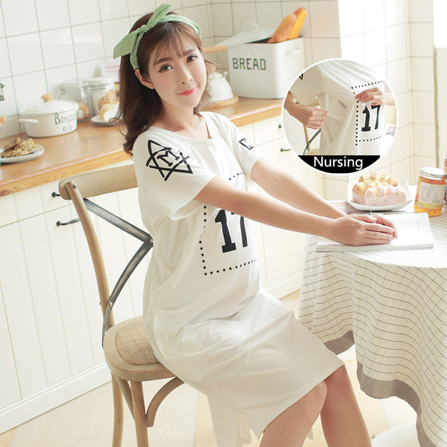db6be7f102 Thin Expectant Mother Feeding Dress Number 17 Pregnant Women Pajamas with Short  Sleeves Cotton Lactation Nursing