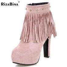 Rizabina женские туфли на высоком каблуке Женская обувь на застежке-молнии Заклёпки кисточки одноцветное Цвет каблуки Сапоги и ботинки женская повседневная обувь на платформе Размеры 34–43