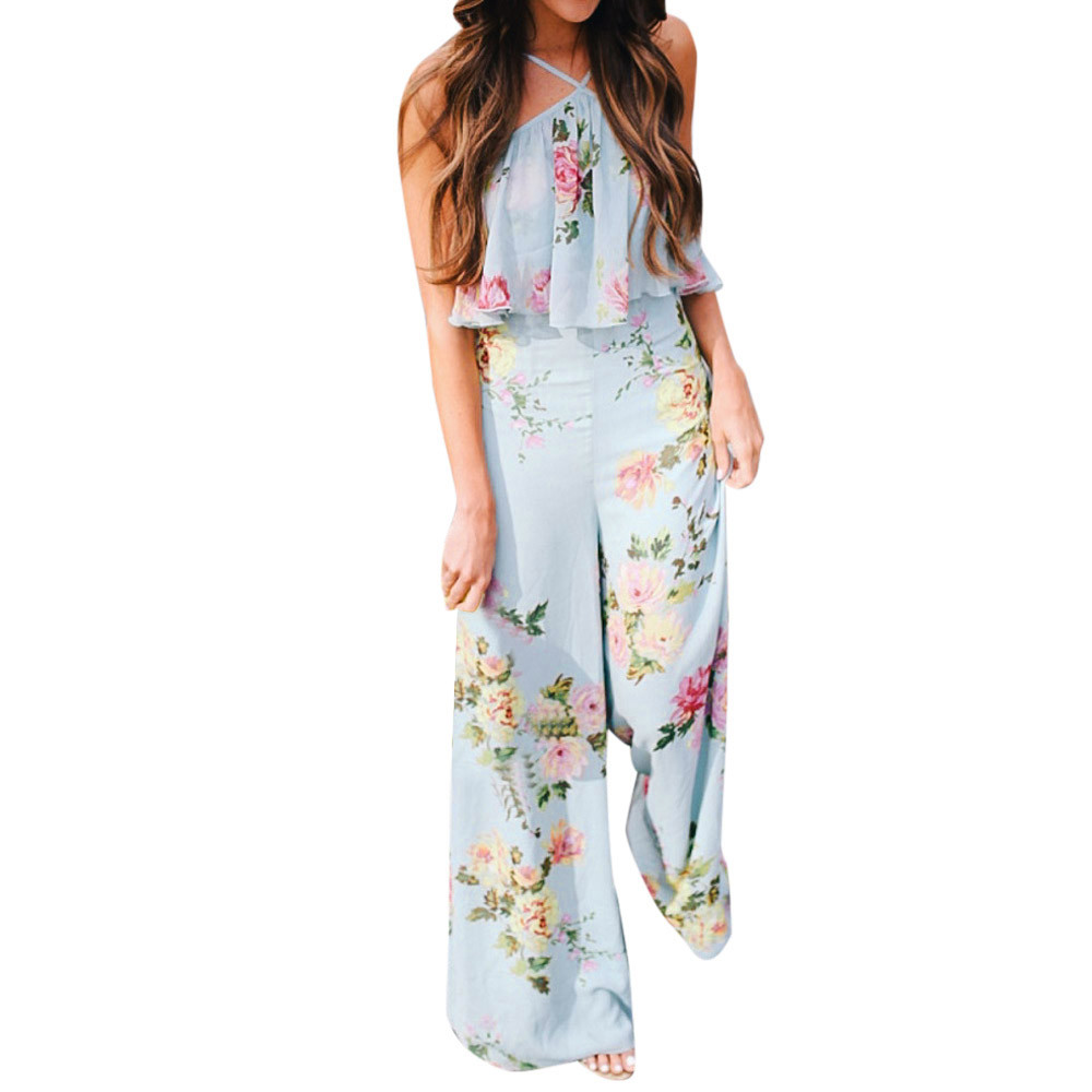 Free Ostrich Women Summer Sexy Jumpsuit Long Slim Spaghetti Strap Backless Romper Ankle Length Female Floral Club D1635