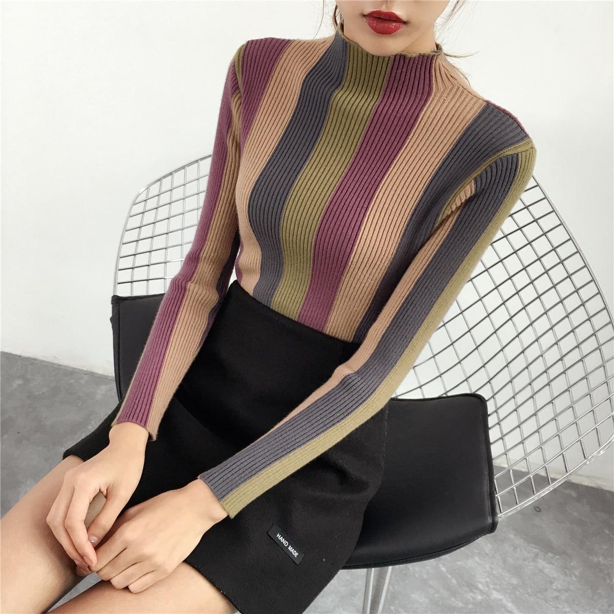 Photo Haut tricot Color Mince Moitié Col Color Femelle Couverture Épaissie photo Automne Chemise Basant Rayures La Chandail Nouvelle Serré vxqZtfpwA